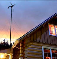 Small wind turbine in the sunset